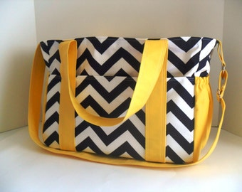Large Diaper bag made of Ahoy Matey Fabric and Navy by fromnancy