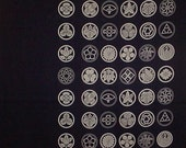 Navy Kamon Family Crest Motif Furoshiki Japanese Fabric Wrapping Cloth 100cm w/Free Insured Shipping