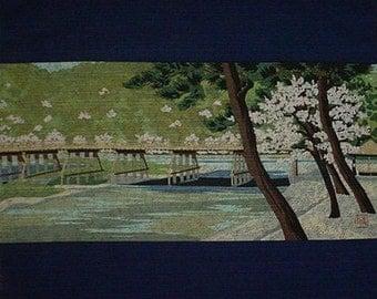 Furoshiki Masao Ido 'Arashiyama' Japanese Fabric Kyoto Motif Cotton 48cm w/Free Insured Shipping