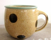 handmade coffee mug - polka dotted - 10 oz - made to order