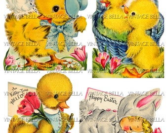 Vintage 1940s Easter Bunny, Chick, and Duck Greeting Card Digital Download 339 - by Vintage Bella
