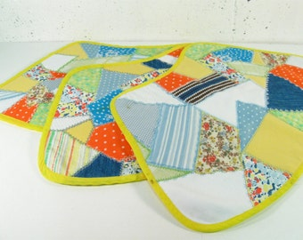 Clearance SALE Vintage placemats retro table linens patchwork quilted 70s decor