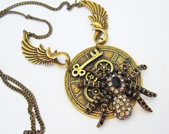 Steampunk Spider Necklace, Gears, Clock Face, Skeleton Key and Wing Bails, Original and Exclusive to Jewelry By Tiki