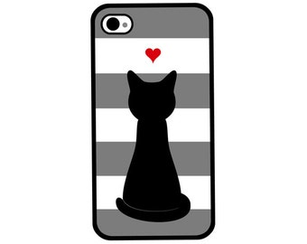 Phone Case - Love Cat Striped - Hard Case for iPhone 4, 4s, 5, 5s, 5c, 6, 6 Plus - iPod Touch 4, 5 - Galaxy S3, S4, S5