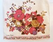 Two Vintage Linen Designer Tea Towels - Luther Travis Fruits and Flowers