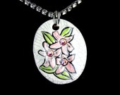 Pink Hawaiian Flower Sparkle Surly Necklace with Swarovski Crystals in Crackle