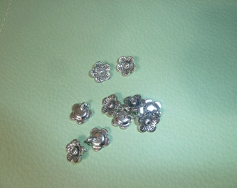 10 Small Silver Flower Pendant Charms