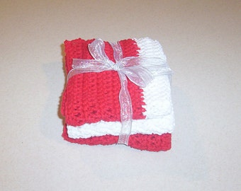 Crocheted Red and White Dishclothes Set of 3
