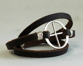 Leather Wrap Bracelet - Unisex Jewelry - Earth Bracelet - EcoFriendly Recycled Sterling Silver - Earth Day Bracelet - Planetary Symbol Earth