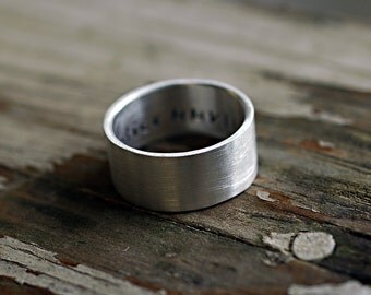 Silver Wedding Band - Modern Wedding Ring - Mens Ring - Mens Wedding Band - Unisex Wide Wedding Ring - Guy Ring - EcoFriendly - custom R4038