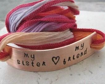 My Sister My Friend Wrap Bracelet, Sister Bracelet, Sister Quote Bracelet, Sister gift, Gift for Sister, Big Sister, Little Sister, Middle