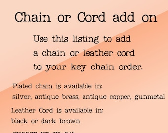 NECKLACE ONLY - Chain or Leather Cord Add on for Risky Beads