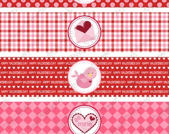 Printable Valentine's Day Water Bottle Wrappers - Instant Download