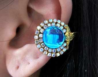 Bright Blue Bird With Crystals Ear Cuff Gold Born Free Sparkle Elegant Glamorous Simple