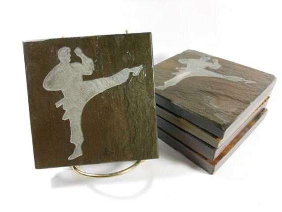 Stone Coasters: MARTIAL ARTS Coasters - 4 Etched Slate Coasters, Carved Slate Coasters, Sensei Gift, Karate Coasters, Jujutsu Judo Taekwondo