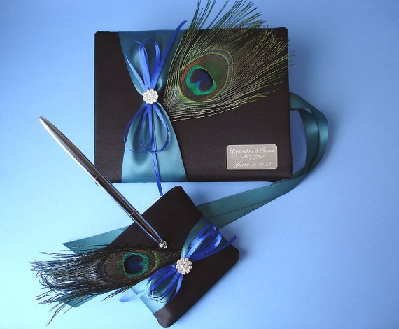 Peacock Wedding Guest Book and Pen Set in Black with Custom Accent Colors and Personalized Engraving