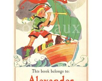 Personalized Bookplates - Pirate - Vintage Boy's Library - Yo Ho Ho