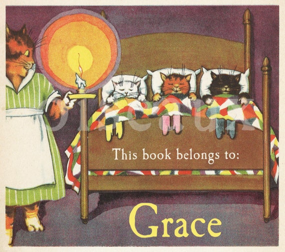 Personalized Bookplates - Goodnight Kittens - Vintage Book Labels, Darling Child's Library, Cats