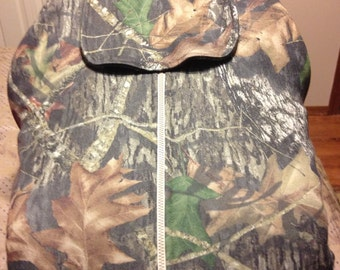 Camo Infant Carseat Cover made with Mossy Oak Camo and Green Fleece