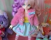 Fairy Kei Polka Dot MINI Skirt Blue and Purple and Pink for YoSD SlimMSD Minifee Raspberry Cute Lolita BJD Doll