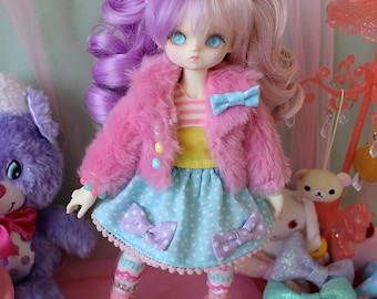 Fairy Kei Polka Dot MINI Skirt Blue and Purple and Pink for YoSD SlimMSD Minifee Raspberry Cute Lolita BJD Doll