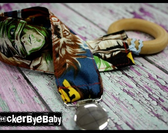 Custom Punk Rock Wooden Teether and holder Fabric in Skulls guitars with secured Ric Rac loop