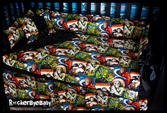Items Similar To Custom Punk Baby Crib Beddng Monster