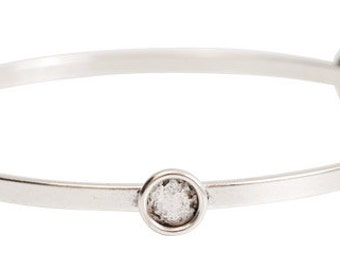 Silver plated bangle bracelet with bezel cup settings. Made in USA. bbflbz-sb
