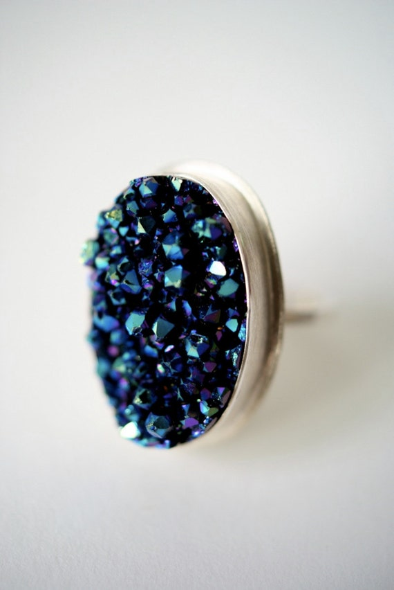 Cosmic Blue and Purple Druzy ring -- One of a Kind