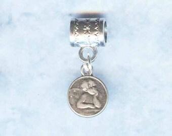 Sterling Angel Cherub Lrg Hole Big Hole Bead Fits all European Add a Bead Charm Bracelet Jewelry Pnd-Ang022