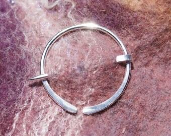 Small Sterling Silver Penannular Brooch, Sweater Clip Fibula, Scarf Pin, Shawl Pin, Kilt Pin, Clasp