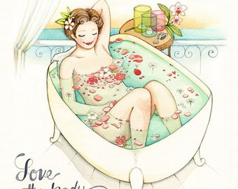Watercolor painting, Love your body, Inspirational art quotes, bathroom art, bathroom artwork, self esteem quote, Art print