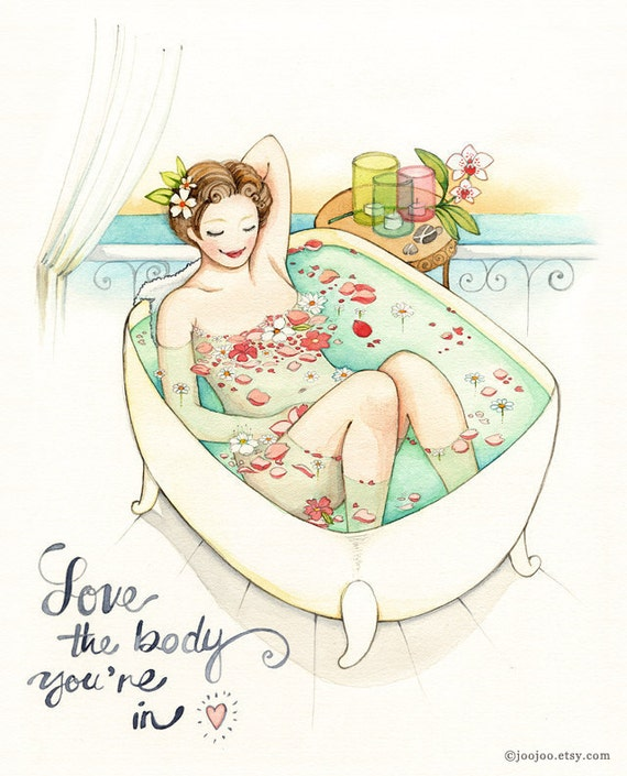 Watercolor painting, Love your body, Inspirational art quotes, bathroom art, bathroom artwork, self esteem quote, Art print