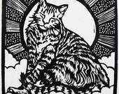 J for Jeoffry (woodcut)