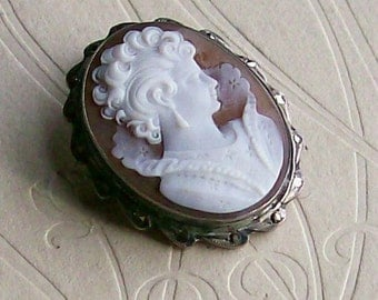 Vintage Cameo Shell Brooch Pendant 900 Silver Setting Marcasites Antique Jewelry 1880s