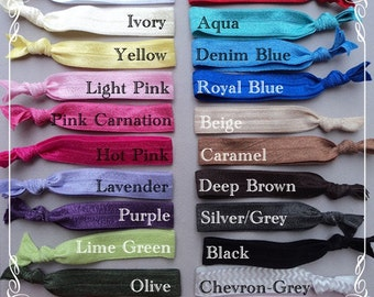 SUMMER IDEAS - 1.00 Elastic HAIR Ties - Pick Your Colors - stretchy fold over hair bands - pink yellow black chevron blue aqua orange