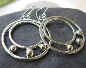 Large Double Dot Hoops . sterling silver and recycled silver .  shiny finish . READY TO SHIP . reduced price