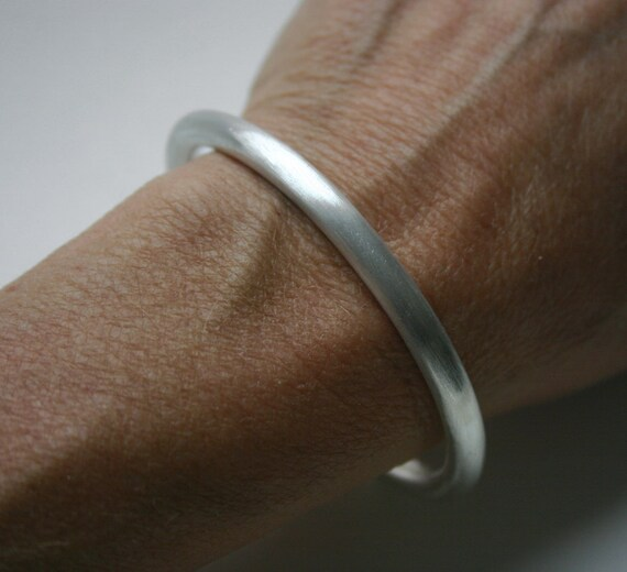 Sterling Silver Heavy Wire Cuff Bracelet Satin Finish Extra