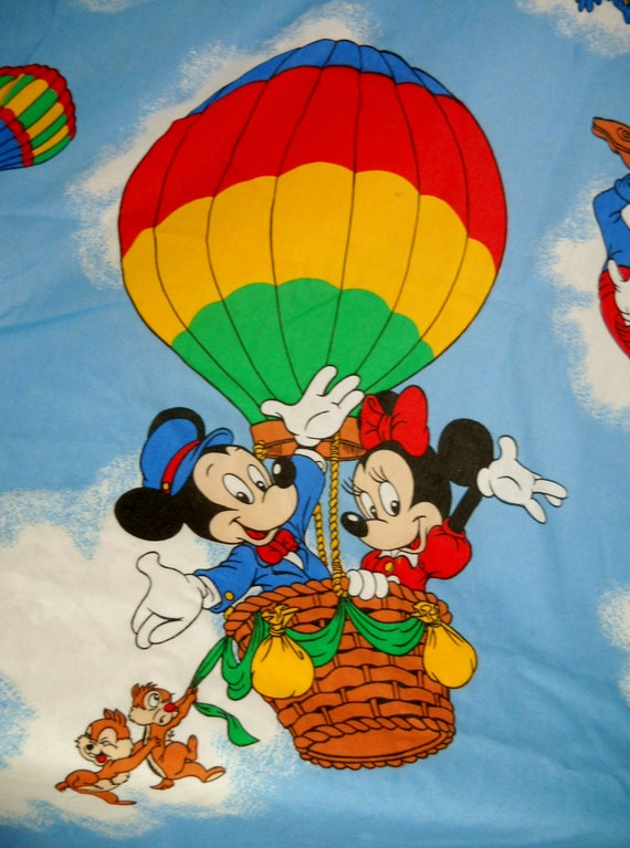 Vintage Disney Characters And Hot Air Balloons Twin By