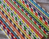 Rainbow Party Straws -- Set of 30 -- Circus Theme-- Sesame Street -- red, purple, blue, green, yellow, orange