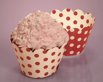 12 Red Cupcake Wrappers, paper cupcake wrapper red and white polka dots