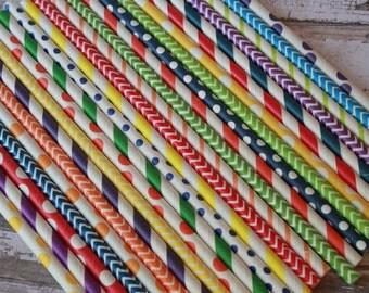 Rainbow Party Straws -- Set of 30 -- Circus Theme-- Sesame Street -- red, purple, blue, green, yellow, orange