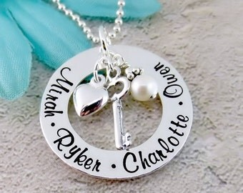 Keys To My Heart Necklace - Personalized Necklace - Necklace for Mom or Grandma - Sterling Silver - Family Name Necklace - Gift For Her