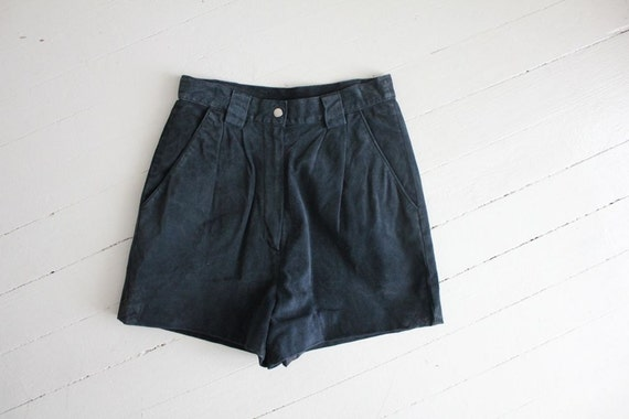black suede shorts / suede leather shorts / high waist shorts