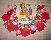 Valentine's Day Bracelet Lips Kiss Valentine Jewelry St.Valentine's Day Charm Bracelet Cupid Hearts Love Charms & Beads Romantic OOAK Cute