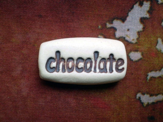 Pocket Token, Chocolate, Porcelain Clay Word Stone