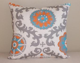 Decorative Throw Pillow Cover 18x18 Aqua and Orange Rosa FREE SHIPPING