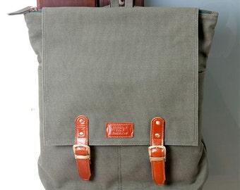 Handmade backpack Masculine collection green color (laptop bag)