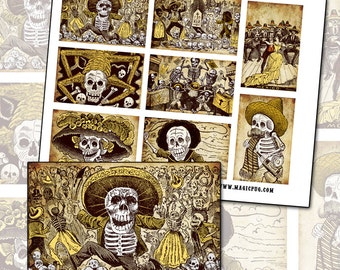 Day of the Dead Sepia Altoids Tin Digital Collage sheet 3.5 x 2.25 Mexican 88mm x 63mm