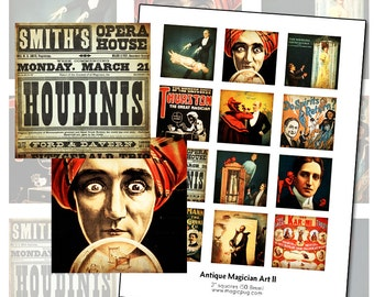 Antique Magician Posters II 2 x 2 inch digital collage sheet 50 mm square 50.8 hypnotist magic turban crystal ball fortune teller 2x2